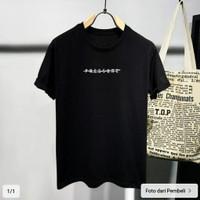T Shirt Polos pres/baju kaos distro pria wanita Hitam pendek,slimfit