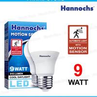 lampu led hannochs motion sensor gerak 9 watt