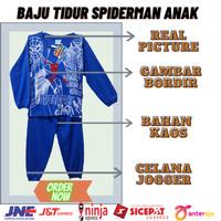 Baju setelan tidur distro anak anak cowok super hero kaos - spiderman biru, 12