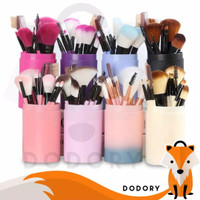 Kuas Make Up Tabung 12pcs Make Up Brush 12 Set In 1 Tube Import - Pink Gradient