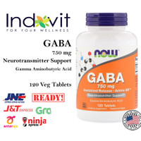 Now Foods GABA 750 mg 120 Tab Now Gaba 750 Relaxasi Anti Cemas Depresi