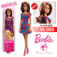 BARBIE DOLL BASIC FLOWER DRESS ORIGINAL MATTEL - MAINAN BONEKA BARBIE