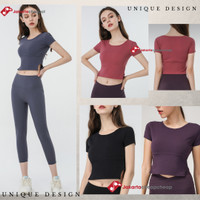 Kaos T-Shirt Round Neck Lengan Pendek Wanita u/olahraga lari yoga - RUBY, M