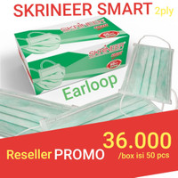 Masker Skrineer Smart Earloop 2 ply isi 50 pcs Original