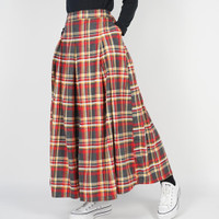 Dailyoutfits Rok Tartan Pleated Midi Skirt Red Flare Umbrella Premium