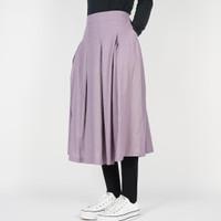 Dailys Rok Pleated Midi Skirt Flare Linen Plain Umbrella Premium