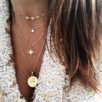 kalung multi layer coin star multi layer combination necklace jka188