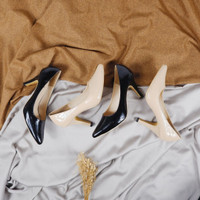 Adora by Quince - sepatu pantofel wanita high heels glossy 9cm