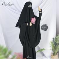 Nindira Safar Setelah Syari Cadar Jubah Akhwat setelan gamis wanita - Hitam, S