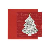 Kartu Natal Christmas Harvest Joy Xmas - White Tree