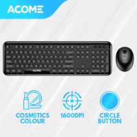 Acome Keyboard Mouse Combo Wireless Fashion Colours Tone AKM1000 - Black