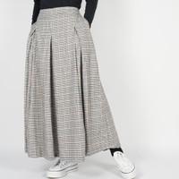 Dailyoutfits Rok Tartan Pleated Midi Skirt Grey Flare Umbrella Premium
