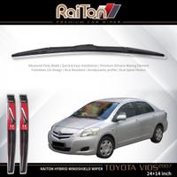 """Raiton Sepasang Wiper Hybrid Kaca Depan Toyota Vios 2007-ON 24"""" & 14"""""""