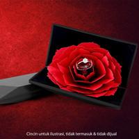 Tempat Cincin Popup Mawar Rose Merah Ring Box - Hitam