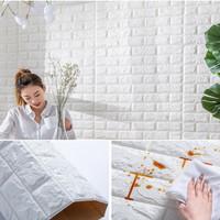 Khusus Gojek / Grab   Wallpaper Dinding Sticker Foam 3D Bata Putih