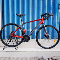Sepeda Balap Element FRC 38 Grey Red Road Bike 700C Include Helm