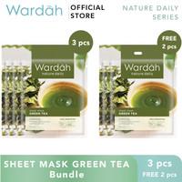 Wardah Sheet Mask Green Tea Bundle 3+2