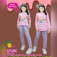 Setelan Anak Perempuan Little Pineapple Junior Unicorn Panjang Pink