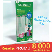 Masker Skrineer Earloop Green 3ply Surgical Original
