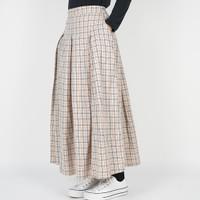 Dailyoutfits Rok kotak Pleated Midi Skirt Flare Cream Umbrella Premium
