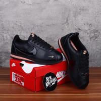 SEPATU Nike Cortez Leather Kulit Full Black Hutam Gold