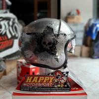 Helm Halfface Classic NOLAN N21 Star Skull 072 SCRATCHED CHROME