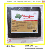 Manjun Yaki Sushi Nori Rumput Laut Roasted Seaweed 50 Lembar