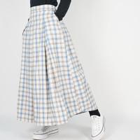 Dailyoutfits Rok Tartan Pleated Midi Skirt Flare Blue Umbrella Premium