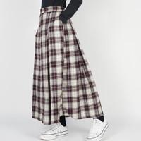 Dailyoutfits Rok Tartan Pleated Midi Skirt Ungu Flare Umbrella Premium