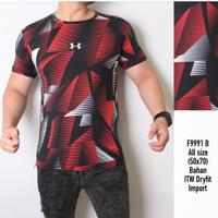 MOZAIK RED - KAOS PREMIUM / Baju running gym olahraga training pria