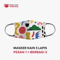 Masker Kain 3 Lapis (3 Ply) Earloop - Desain oleh Nadjani