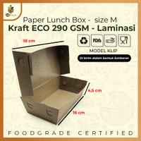 PAPER LUNCH BOX SIZE M TAKE AWAY BOX COKLAT KRAFT 290 GSM Anti Rembes