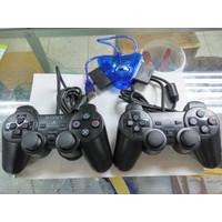 Paket bundle 2pcs stick PS2 ori pabrik + converter stick ps2 to PC/ps3 - Hitam