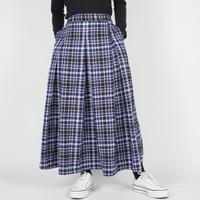 Dailyoutfits Rok Tartan Pleated Midi Skirt Flare Navy Umbrella Premium