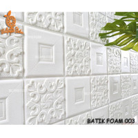 Khusus Gojek / Grab  Wallpaper Dinding Sticker Foam 3D Batik Putih
