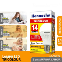 Hannochs Tricolour 14 watt LED 3 Warna Bola Bohlam Lampu Tiga Tricolou