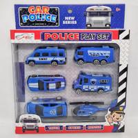 Mainan Mobil Mobilan Truck Pullback Polisi isi 6pcs