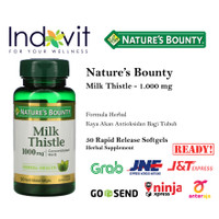 Natures Bounty Milk Thistle 1000mg 50 Soft Perlindungan Antioksidan