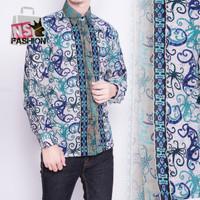 Kemeja Batik Pria Size M L XL XXL Lengan Panjang Katun Hijau Zahirul
