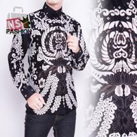 Kemeja Pria Batik Size M L XL XXL Lengan Panjang Katun Hitam Wafir