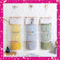 Organizer Bag Storage Gantung 3 Tingkat / Storage Bag/Pouch 3 Sekat - Kuning