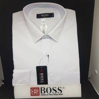 Kemeja Boss polos putih dan Warna Slim fit - Putih