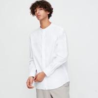 Kemeja Uniqlo Linen Cotton Stand Collar LS Shirt White Original Putih