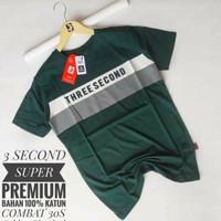 baju kaos pria 3second motip kombinasi Original distro termurah - hijau army, XL