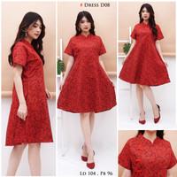 Dress batik Merah wanita model Cheongsam|Bunkashop
