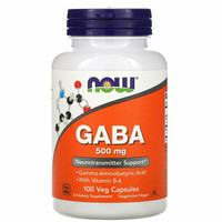 NOW FOODS GABA 500 mg, 100 Veg Caps