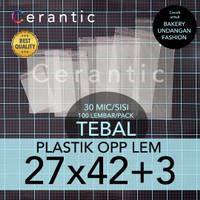OPP LEM 27 x 42 +3 cm Plastik Bening Seal Bungkus Roti Undangan Baju