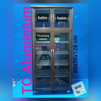 LEMARI SEPATU HELM ALUMINIUM COKLAT 60X38X128 CM BELAKANG KACA