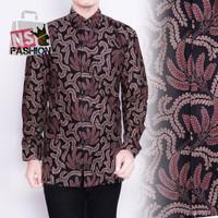 Kemeja Pria Batik Size M L XL XXL Lengan Panjang Katun Hitam As'ad