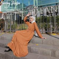 Gamis Katun Rayon Dress Wanita Muslimah Homey Dress Polos Ruffle